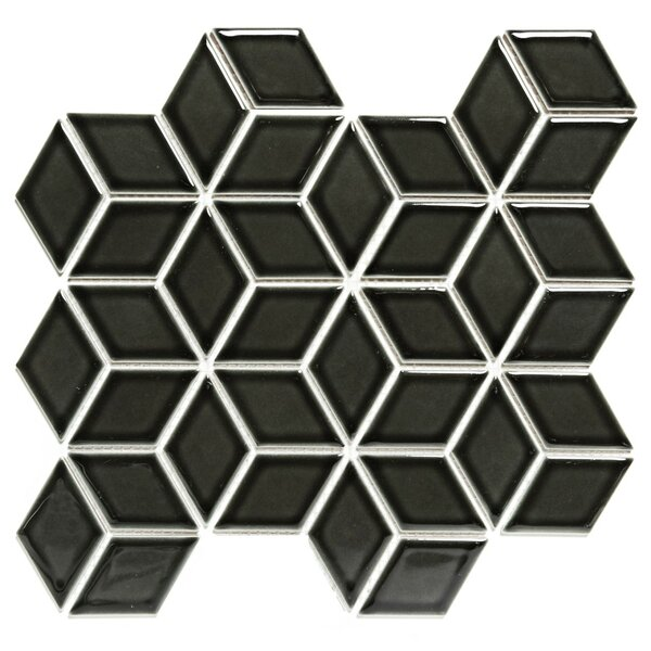 Paris Rhombus Glossy 1.9 x 3.19 Porcelain Mosaic Tile in Black by The Mosaic Factory