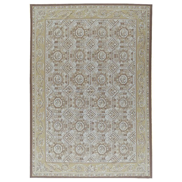 One-of-a-Kind Aubusson Hand-Woven Wool Brown/Beige Area Rug by Pasargad