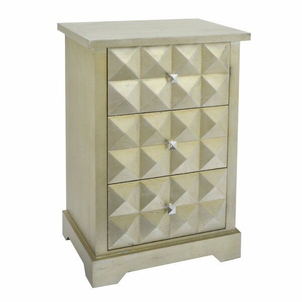 Jelissa Wood 3 Drawers Accent Chest by Bloomsbury Market