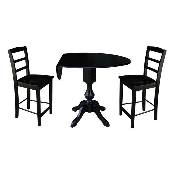 Bargain Aquin Round Top Drop Leaf Pedestal 3 Piece Adjustable Pub Table Set By Alcott Hill Top Reviews
