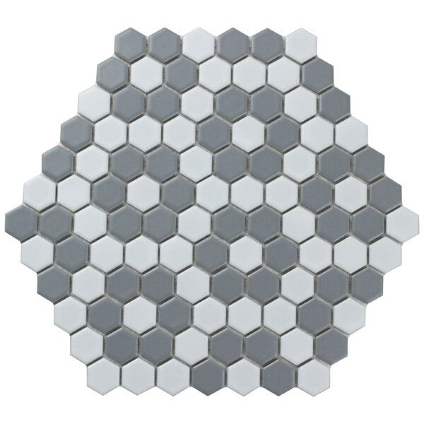 """Value Series 1"""" x 1 Porcelain Mosaic Tile in Matte White/Gray by WS Tiles"""