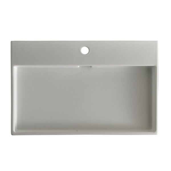 Ceramica I Urban Ceramic Ceramic Rectangular Vessel Bathroom Sink with Overflow by WS Bath Collections