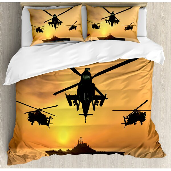 War Home Battle Helicopter Over the Ocean Sea and Aircraft Carrier on Combat Art Photo Duvet Set by Ambesonne
