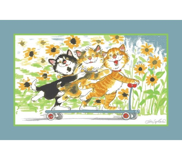 Wags and Whiskers Duckport Kitties Take A Ride Area Rug by Fun Rugs