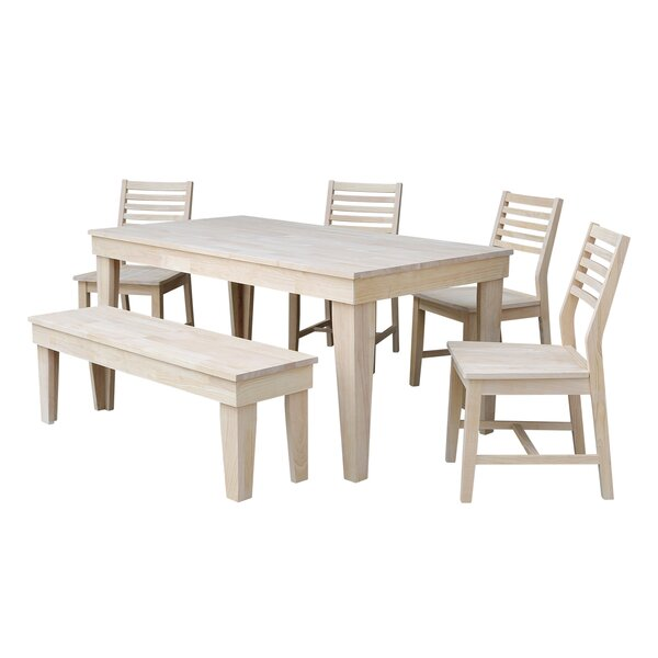 Theodosia 6 Piece Solid Wood Dining Set by Highland Dunes