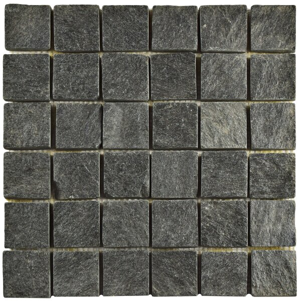 Peak Quad Quartzite 1.88 x 1.88 Slate Mosaic Tile in Black by EliteTile