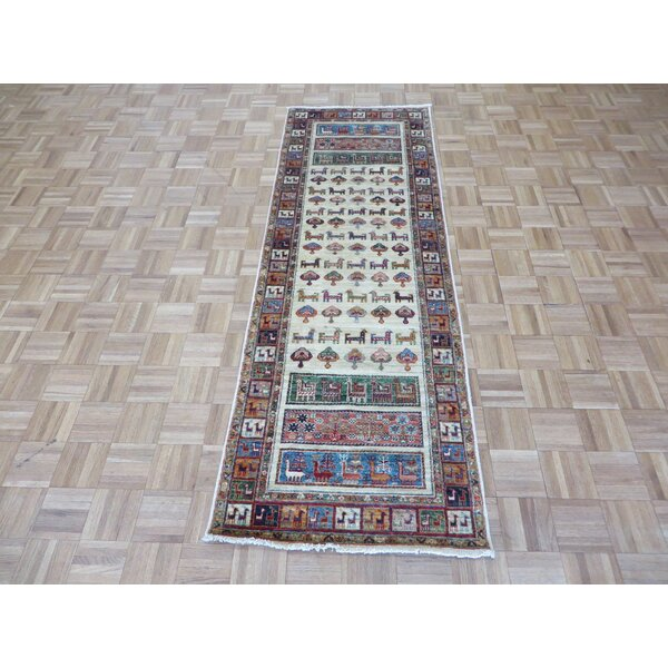 One-of-a-Kind Railsback Animals Hand-Knotted Wool Ivory Area Rug by Astoria Grand