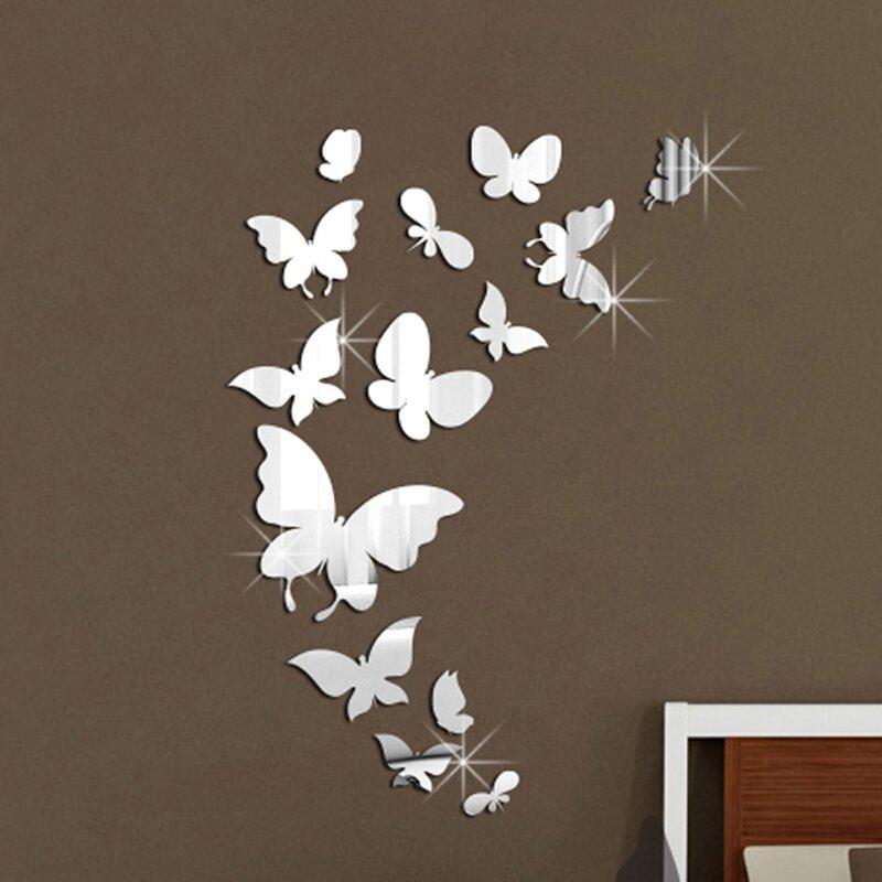 Walplus 14 Mirror Butterflies Wall Art Wall Decal & Reviews | Wayfair