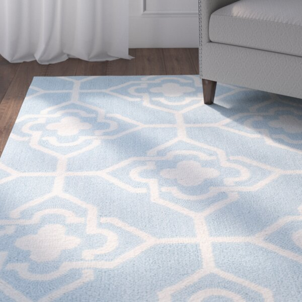 Rue Sauvage Hand-Hooked Light Blue/Ivory Indoor/Outdoor Area Rug by Red Barrel Studio