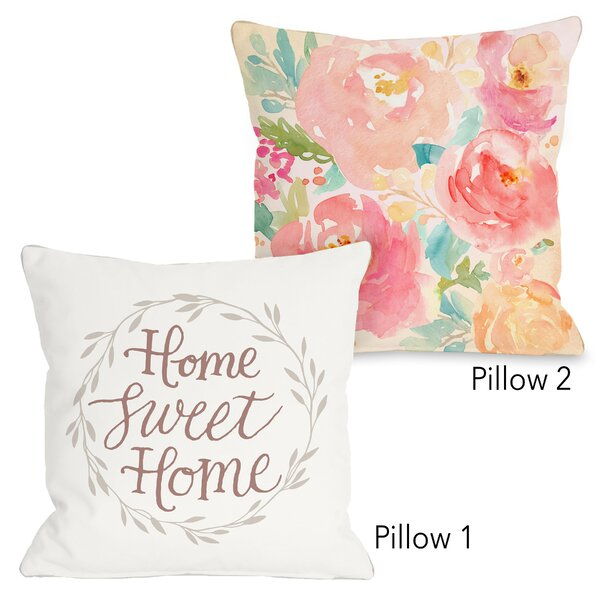 Albright Home Sweet Home Leaf Wreath and Popping Peonies 2 Piece Throw Pillow Set by House of Hampton