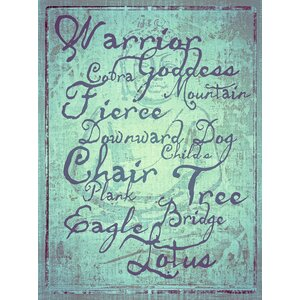 Typography 'Yoga Poses Weathered Copper Background' Textual Art on Wrapped Canvas by Graffitee Studios