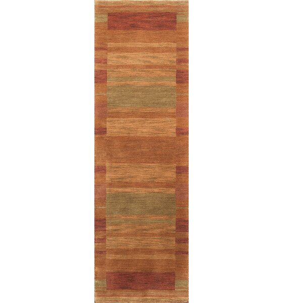Donaghy Hand-Woven Rust/Light Green Area Rug by Ebern Designs