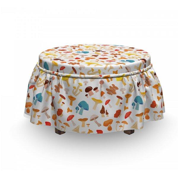 Mushroom Toadstool Cartoon 2 Piece Box Cushion Ottoman Slipcover Set By East Urban Home