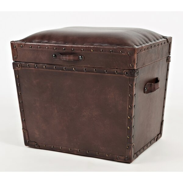 Carroll Leather Storage Ottoman by 17 Stories