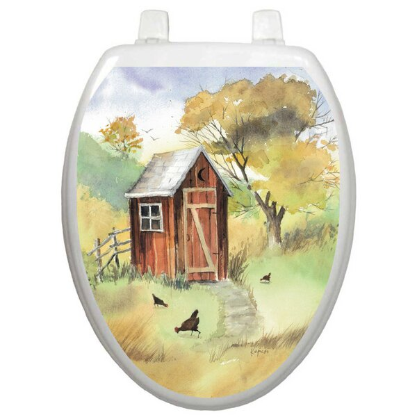 Themes Watercolor Outhouse Toilet Seat Decal by Toilet Tattoos