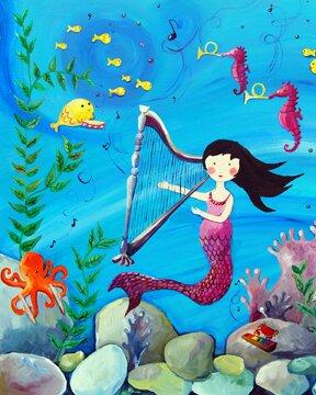Mermaid Paper Print by Cici Art Factory