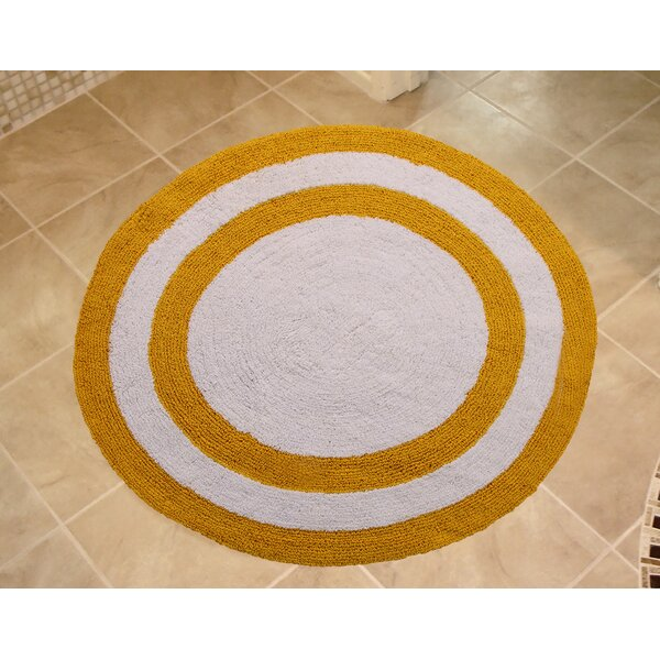 Manigault 100% Soft Two Tone Circle 100% Cotton Reversible Striped Bath Rug