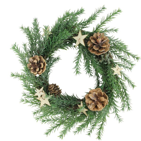 Classic Cone and Stars Christmas 11 Pine Wreath by The Holiday Aisle