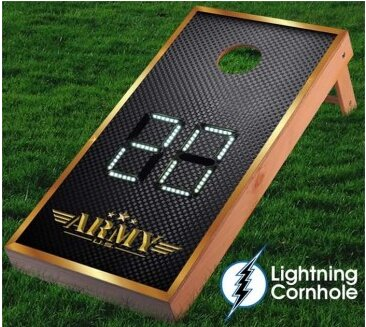 Electronic Scoring Army Texture Cornhole Board by Lightning Cornhole