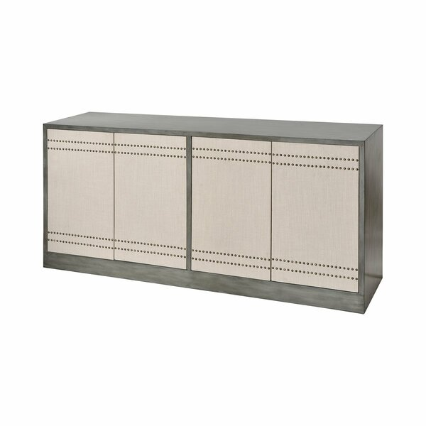 Klose 4-door Cabinet In Repose Grey With Cream Linen And Antique Brass Nail Heads by World Menagerie World Menagerie