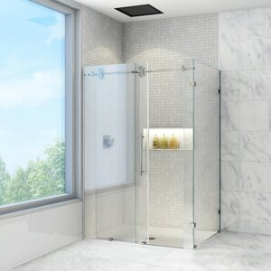 Winslow 36 x 60-in. Frameless Sliding Shower Enclosure with .375-in. Clear Glass and Chrome Hardware
