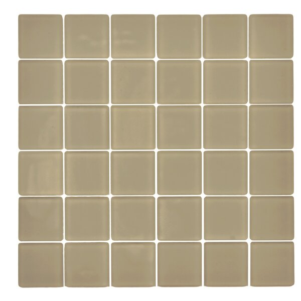 Traditional Glass 2 x 2 Mosaic Tile in Ecru by Kellani