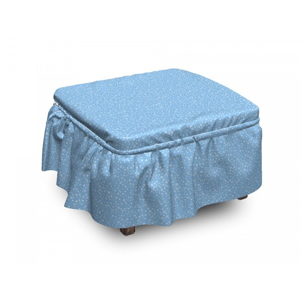 Winter Snowflakes Falling 2 Piece Box Cushion Ottoman Slipcover Set By East Urban Home