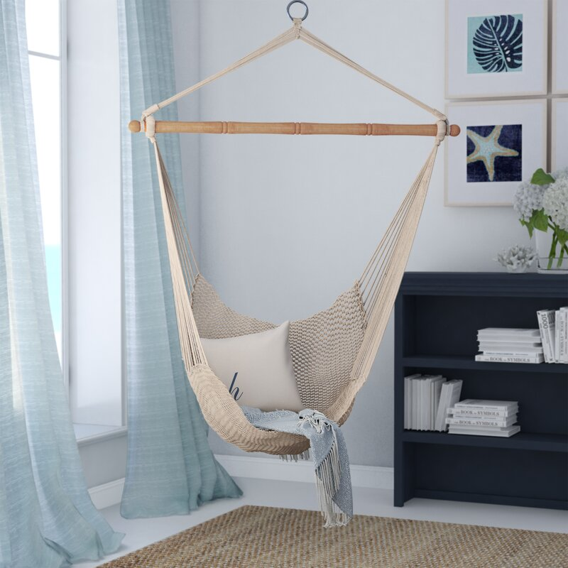 Beachcrest home crowell rope cotton chair hammock for Indoor hanging chair for bedroom