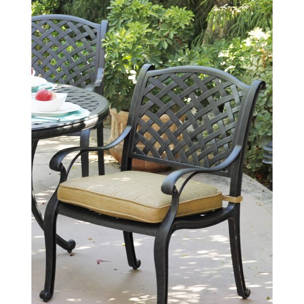 Lincolnville Patio Dining Chair with Cushion (Set of 4) by Fleur De Lis Living
