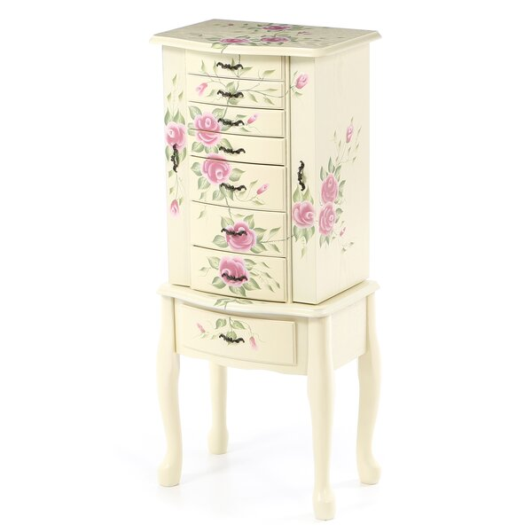 Antonette Floral Jewelry Armoire with Mirror by August Grove August Grove
