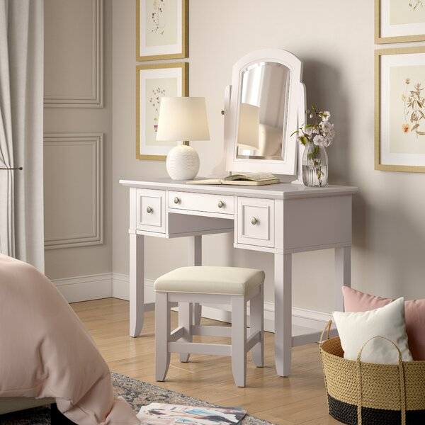 Barnard Vanity Set with Stool and Mirror by Birch Lane™ Heritage