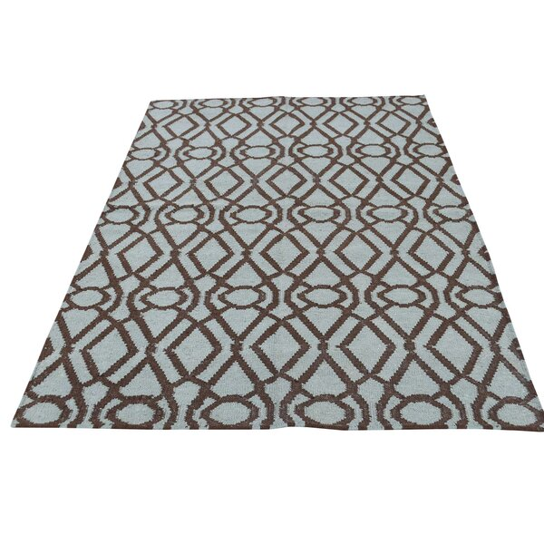 Light Durie Kilim Reversible Hand-Knotted Chocolate Brown/Gray Area Rug by Bloomsbury Market