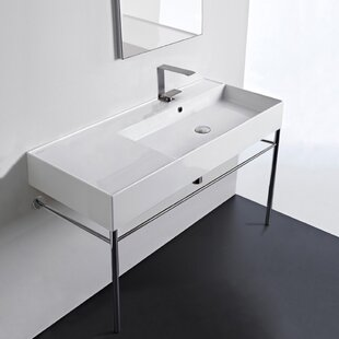 Price comparison Ceramic 40'' Console Bathroom Sink with Overflow By Scarabeo by Nameeks