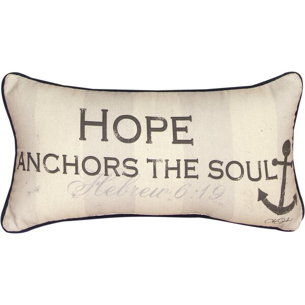 Hope Anchors the Soul Cotton Lumbar Pillow by Manual Woodworkers & Weavers