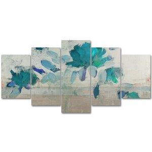 Painted Petals IV-B 5 Piece Painting Print on Wrapped Canvas Set by Ready2hangart