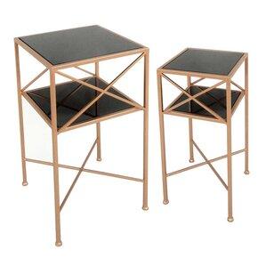 2 Piece Metal & Mirror End Table Set by Sage..