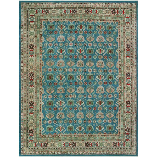 Sharpe Hand-Knotted Wool Blue Area Rug by Loon Peak