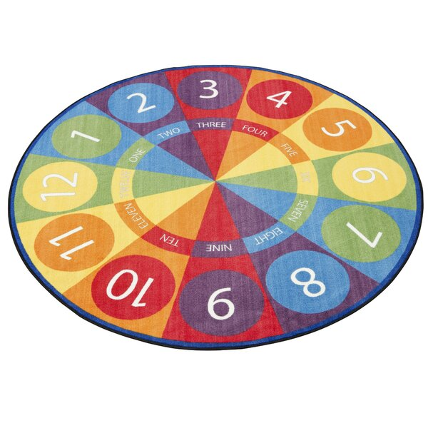 Tick-Tock Clock Activity Blue/Green Area Rug by ECR4kids