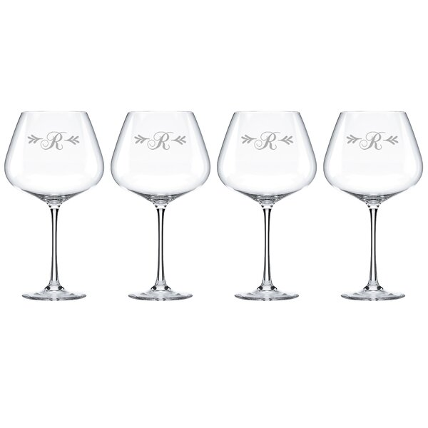 Merlot Script Tuscany Monogram Burgundy 28 Oz. Red Wine Glass (Set of 4) by Lenox