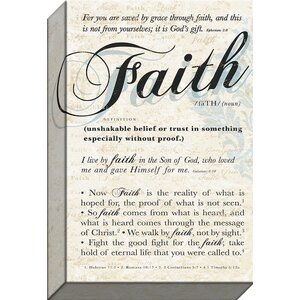'Faith' Textual Art on Wrapped Canvas by Carpentree