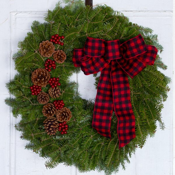 Buffalo Plaid Fresh Christmas 22 Wreath by The Holiday Aisle