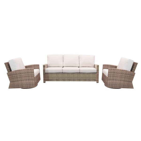 Norfolk 3 Piece Sunbrella Deep Seating Group with Cushions by Rosecliff Heights
