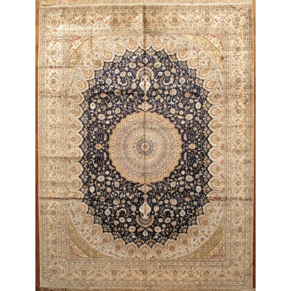 Tabriz Hand-Knotted Navy/Light Gold Area Rug by Pasargad