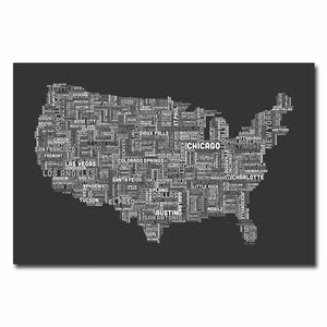 US Cities Text Map III by Michael Tompsett Textual Art on Wrapped Canvas by Trademark Fine Art