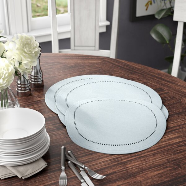 Evanston Cutwork Hemstitch Round Placemat (Set of 4) by Three Posts