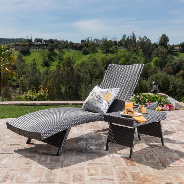 Lisbeth 2 Piece Adjustable Lounge and Wicker Table Reclining Chaise Lounge by Bay Isle Home Bay Isle Home