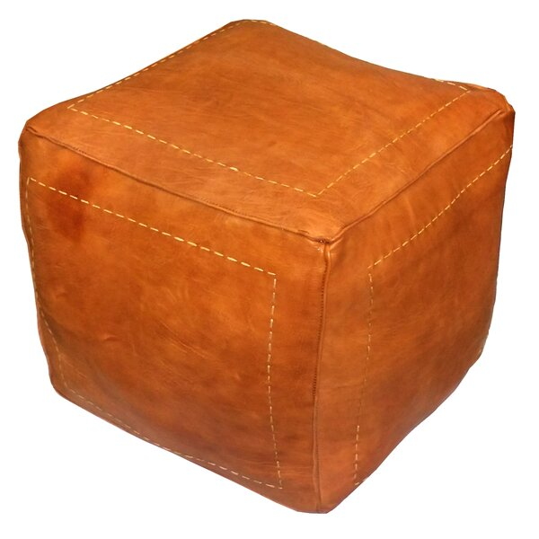 Carnuel Leather Pouf By World Menagerie