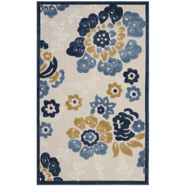 Siddhesh Floral Ivory/Blue Indoor / Outdoor Area Rug
