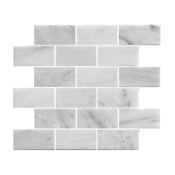 2.88 x 3.88 Stone Mosaic Tile in White by Legion Furniture