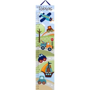 Personalized Patchwork Transportation Growth Chart by Toad and Lily